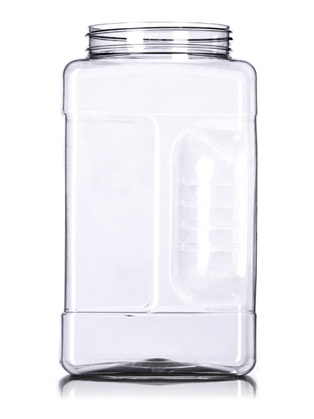 1 gallon clear PET square grip container with 110 400 neck finish