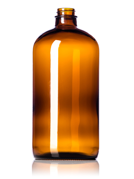 32 oz amber glass boston round bottle with 28400 neck finish