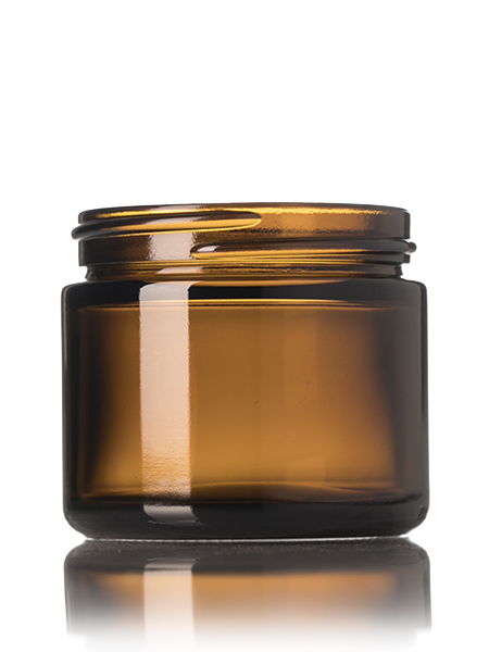 2 oz amber glass straightsided round jar with 53400 neck finish