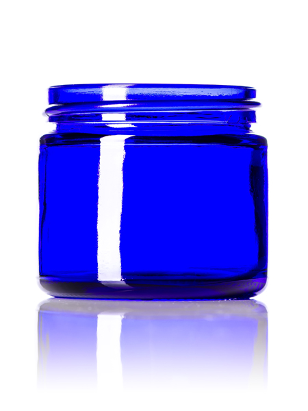 2 oz cobalt blue glass straight-sided round jar with 53-400 neck finish