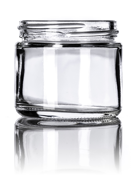 2 oz clear glass straightsided round jar with 53400 neck finish