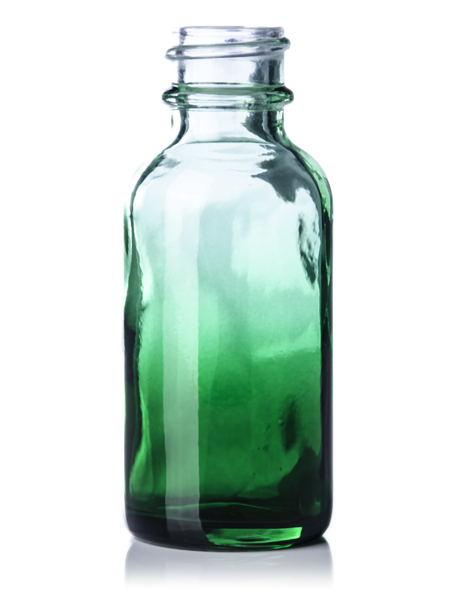 G068g 1 Oz Green Shaded Clear Glass Boston Round Bottle