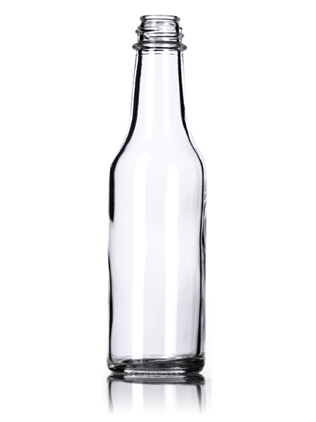 5 oz clear glass woozy bottle with 24 414 neck finish