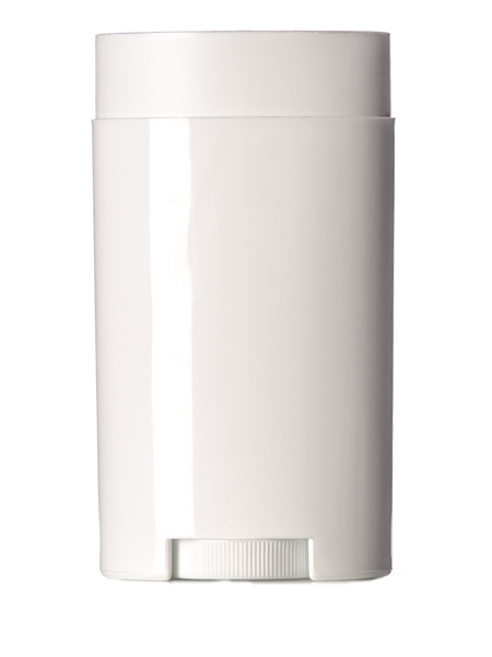 2 5 oz white PP oval-shaped deodorant container with dial
