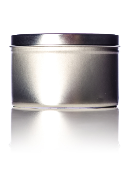 m514 16 oz silver metal deep tin with clear slip cover lid deep metal tins